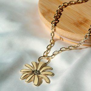 Colar Flor Amarelo Dourado - Dayanne Bijoux